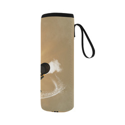 Funny giraffe with motorcycle Neoprene Water Bottle Pouch/Large