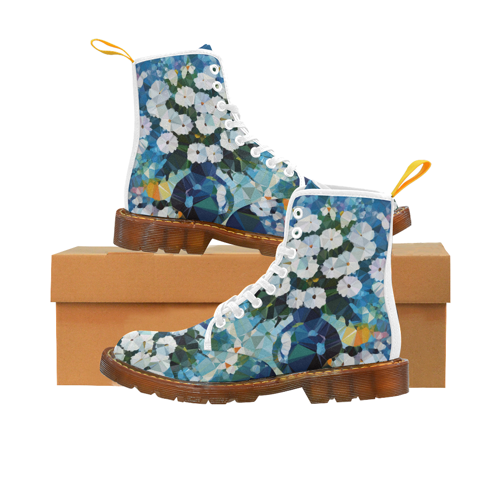 White Flowers Blue Vase Low Poly Art Martin Boots For Women Model 1203H