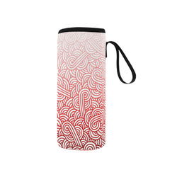 Gradient red and white swirls doodles Neoprene Water Bottle Pouch/Small