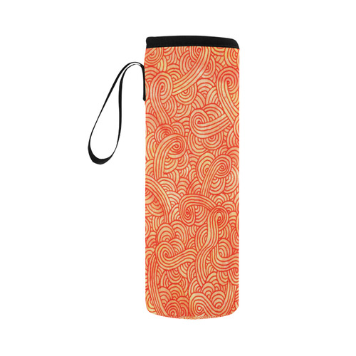 Orange and red swirls doodles Neoprene Water Bottle Pouch/Large