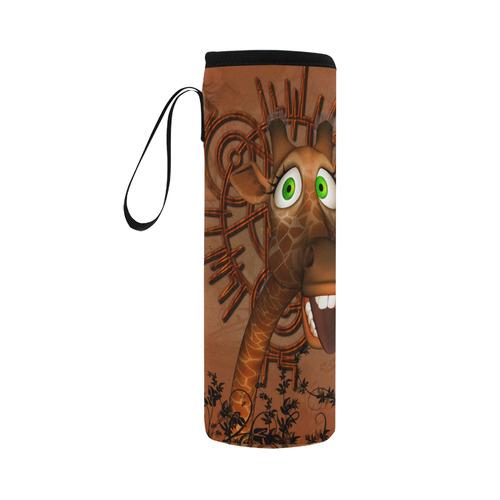 Sweet, happy giraffe Neoprene Water Bottle Pouch/Large