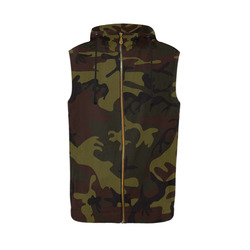 Camo Green Brown All Over Print Sleeveless Zip Up Hoodie for Men (Model H16)