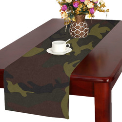 Camo Green Brown Table Runner 16x72 inch