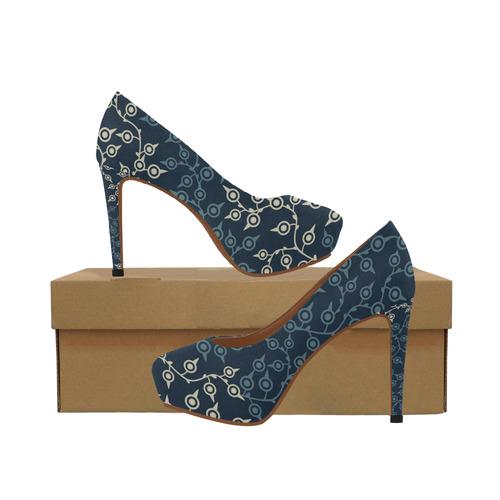 Blue Leaves on Blue Background Women's High Heels (Model 044)