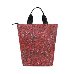 Red and black swirls doodles Nylon Lunch Tote Bag (Model 1670)