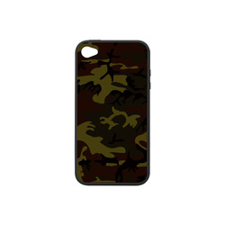 Camo Green Brown Rubber Case for iPhone 4/4s