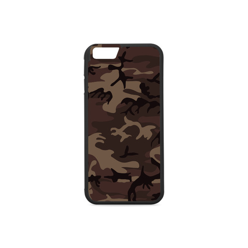 Camo Red Brown Rubber Case for iPhone 6/6s