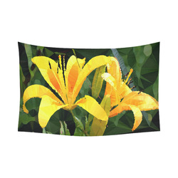 "Yellow Lilies Low Poly Floral Geometric Landscape Cotton Linen Wall Tapestry 90""x 60"""