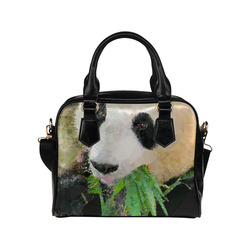 Giant Panda Eating Low Poly Triangle Art Shoulder Handbag (Model 1634)