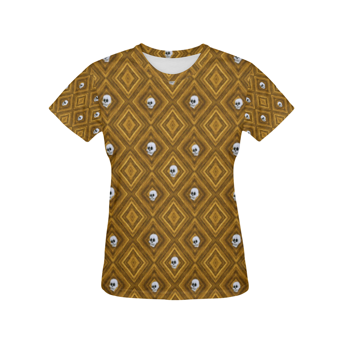 Funny little Skull pattern, golden by JamColors All Over Print T-Shirt for Women (USA Size) (Model T40)