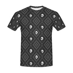 Funny little Skull pattern, B&W by JamColors All Over Print T-Shirt for Men (USA Size) (Model T40)