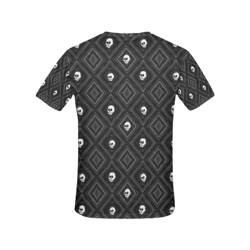 Funny little Skull pattern, B&W by JamColors All Over Print T-Shirt for Women (USA Size) (Model T40)