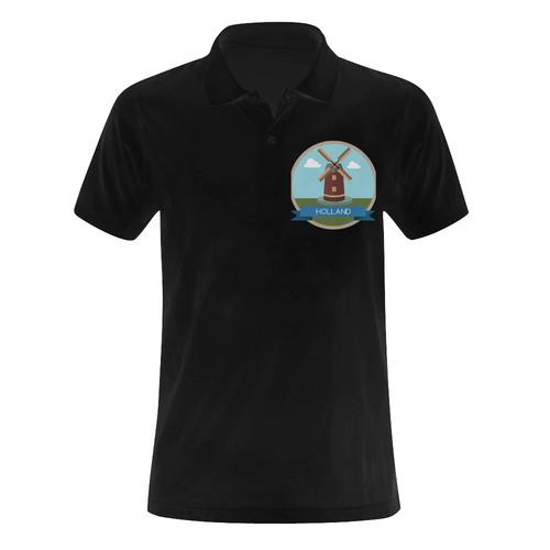 Holland - Netherlands, Landmarks Men's Polo Shirt (Model T24)