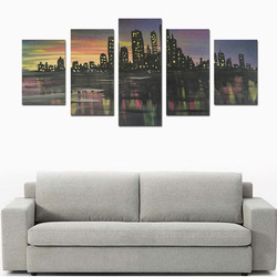 City Lights Canvas Print Sets D (No Frame)