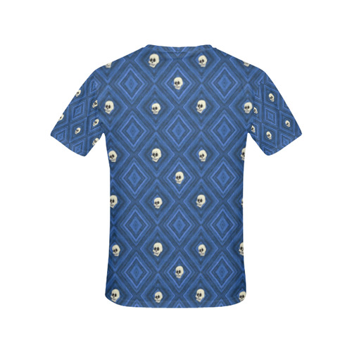 Funny little Skull pattern, blue by JamColors All Over Print T-Shirt for Women (USA Size) (Model T40)