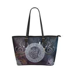Amazing skeleton Leather Tote Bag/Small (Model 1651)