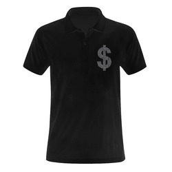 Faux silver and black swirls doodles dollar Men's Polo Shirt (Model T24)