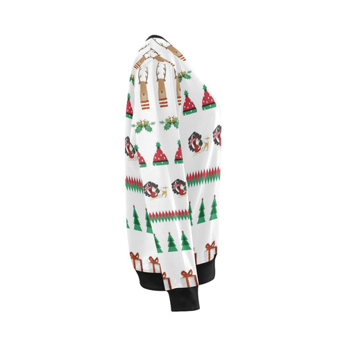 Christmas Sweatshirt Santa Red Green Tree Reindeer Presents by Tell3People All Over Print Crewneck Sweatshirt for Women (Model H18)