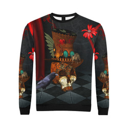Steampunk skull with rat and hat All Over Print Crewneck Sweatshirt for Men/Large (Model H18)