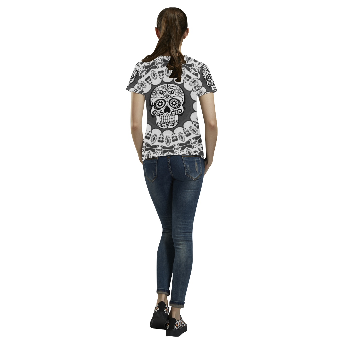 funny Mandala Skull by JamColors All Over Print T-Shirt for Women (USA Size) (Model T40)