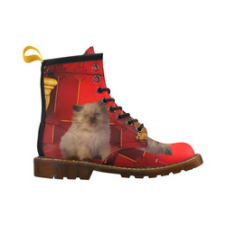 Cute little kitten High Grade PU Leather Martin Boots For Women Model 402H