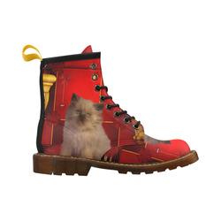 Cute little kitten High Grade PU Leather Martin Boots For Men Model 402H