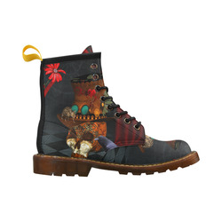 Steampunk skull with rat and hat High Grade PU Leather Martin Boots For Men Model 402H