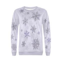 Snowflakes Blue Purple All Over Print Crewneck Sweatshirt for Women (Model H18)
