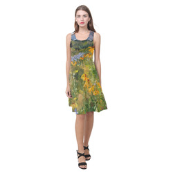 Mountain Floral Landscape Low Polygon Art Atalanta Casual Sundress(Model D04)