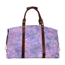 Purple and faux silver swirls doodles Classic Travel Bag (Model 1643) Remake