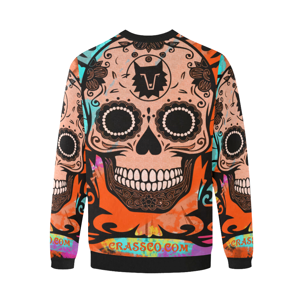 SKULL FLEECE V Men's Oversized Fleece Crew Sweatshirt (Model H18)