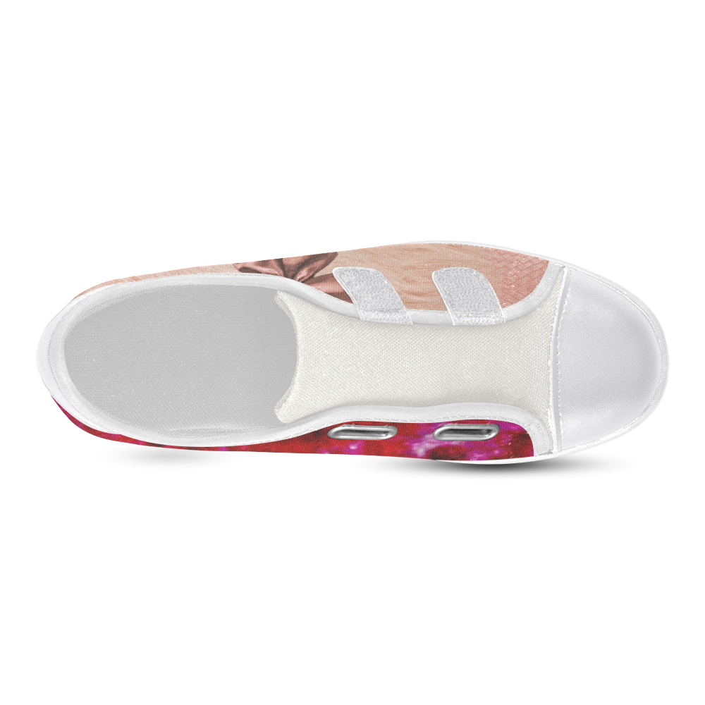 Powder Pink Fur Look with Bow and Deep Rose Velcro Canvas Kid's Shoes (Model 008)