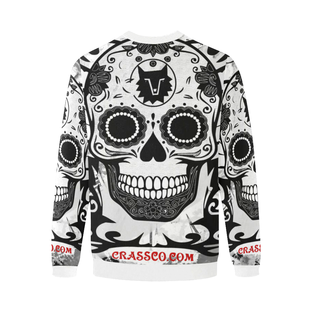 SKULL BIG BIG FLEECE I Men's Oversized Fleece Crew Sweatshirt/Large Size(Model H18)