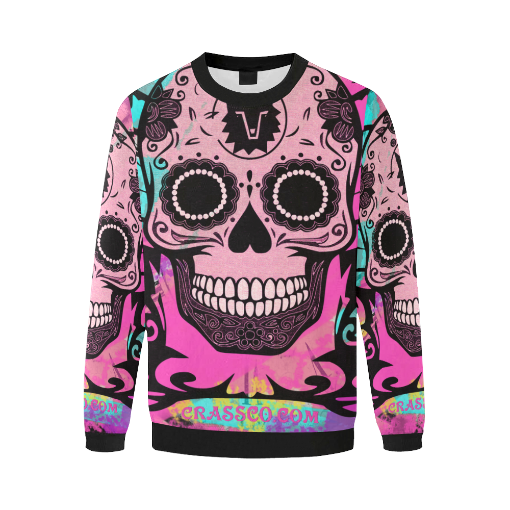 SKULL FLEECE BIG PINK I Men's Oversized Fleece Crew Sweatshirt/Large Size(Model H18)