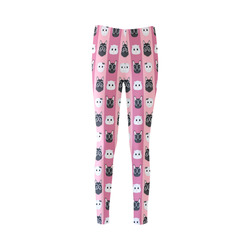 Dogs and Cats on Pink Stripes Cassandra Women's Leggings (Model L01)