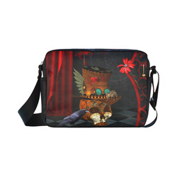 Steampunk skull with rat and hat Classic Cross-body Nylon Bags (Model 1632)