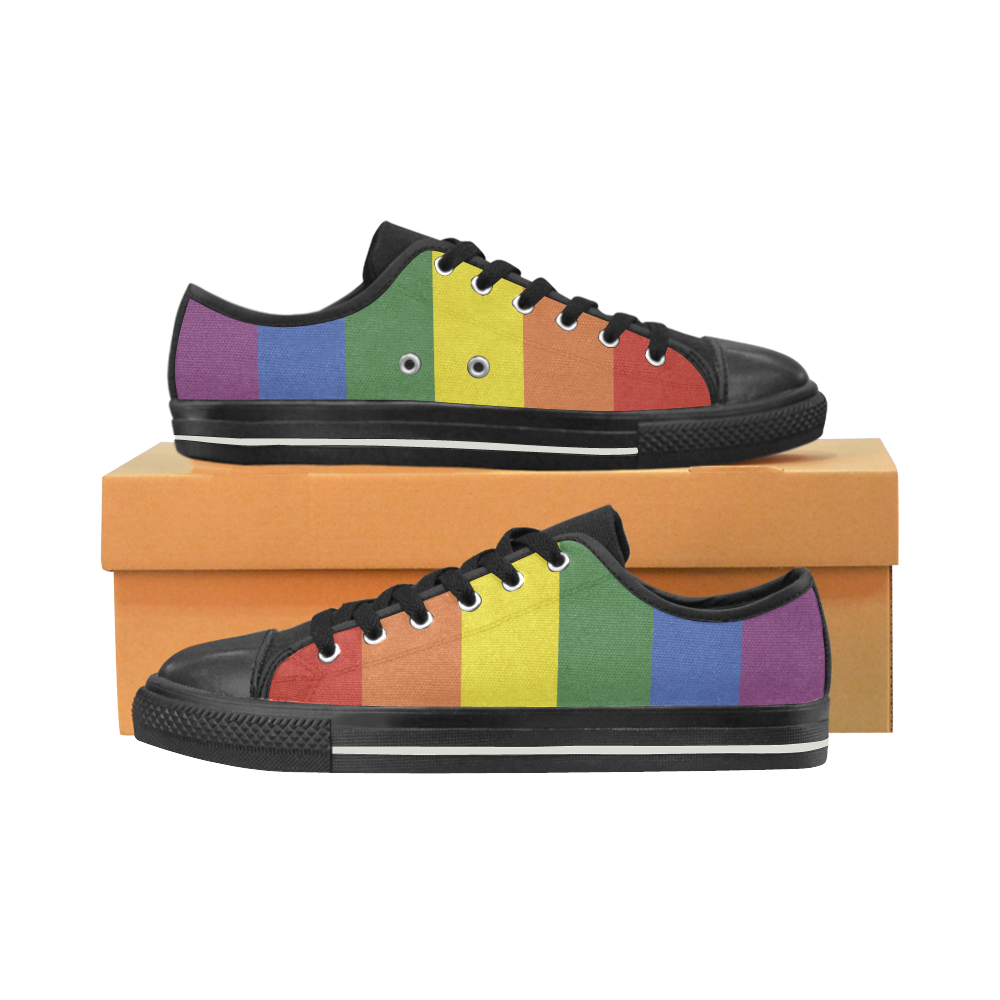 Stripes with rainbow colors Women's Classic Canvas Shoes (Model 018)