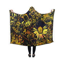 Amazing neon flowers B by JamColors Hooded Blanket 50''x40''