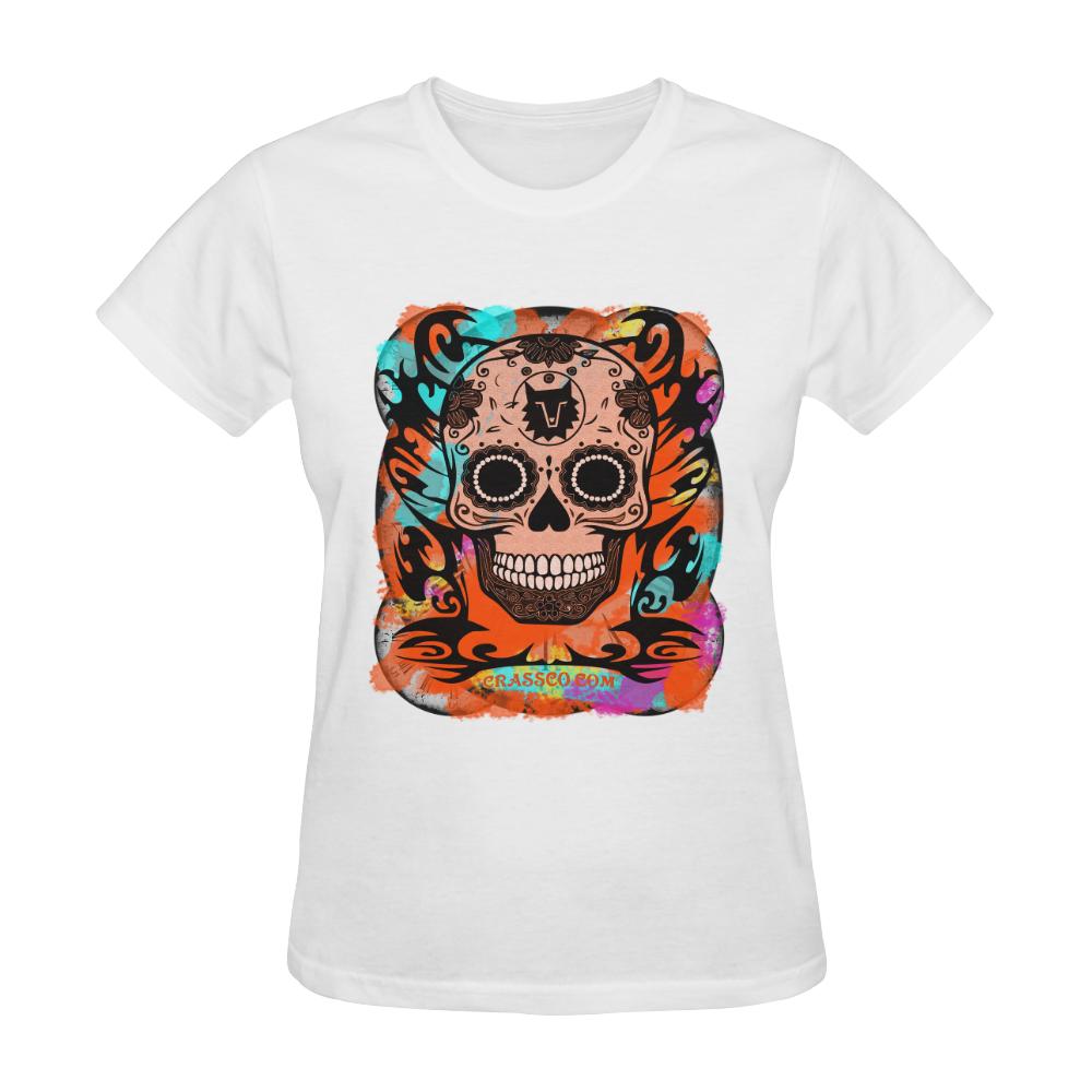 SKULL CULT ORANGE II Sunny Women's T-shirt (Model T05)