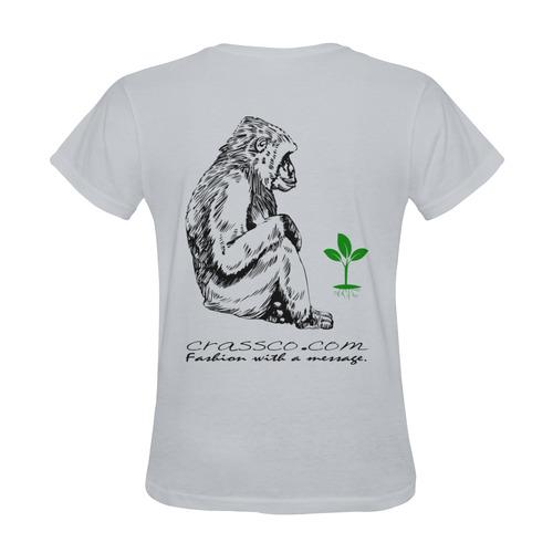 GORILLA PLANT MESSAGE III Sunny Women's T-shirt (Model T05)