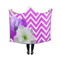 chevron Flower mix lilac Hooded Blanket 50''x40''