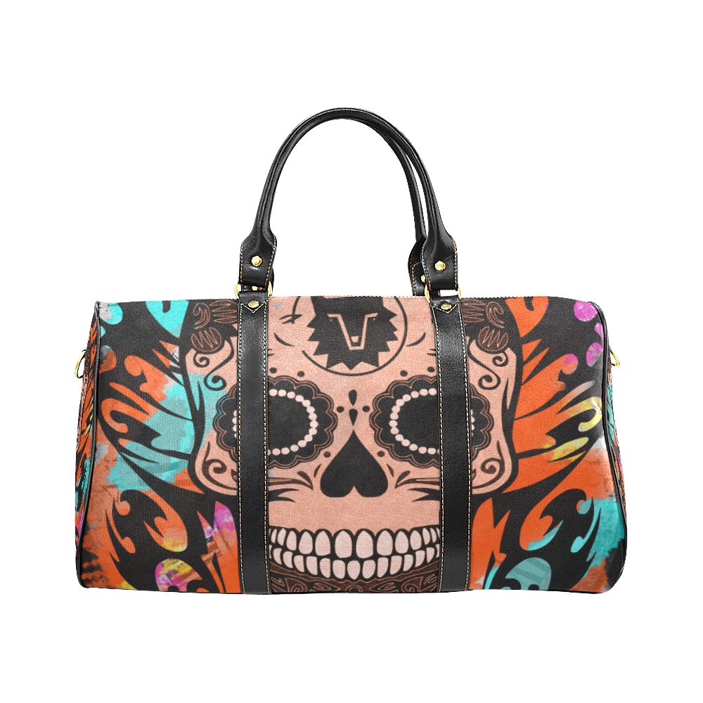 SKULL TRIBAL CULT ORANGE New Waterproof Travel Bag/Small (Model 1639)