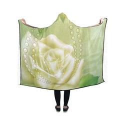 Beautiful soft green roses Hooded Blanket 50''x40''