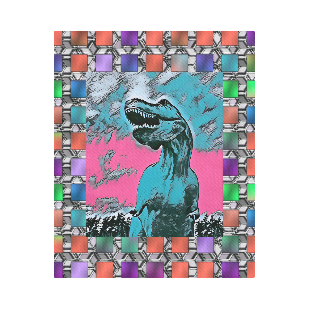 "DINO SQUARE ABSTRACT III Duvet Cover 86""x70"" ( All-over-print)"