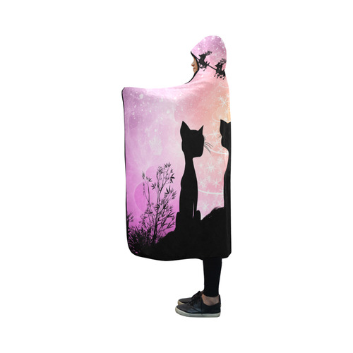 Cats looking to Santa Claus in the sky Hooded Blanket 50''x40''