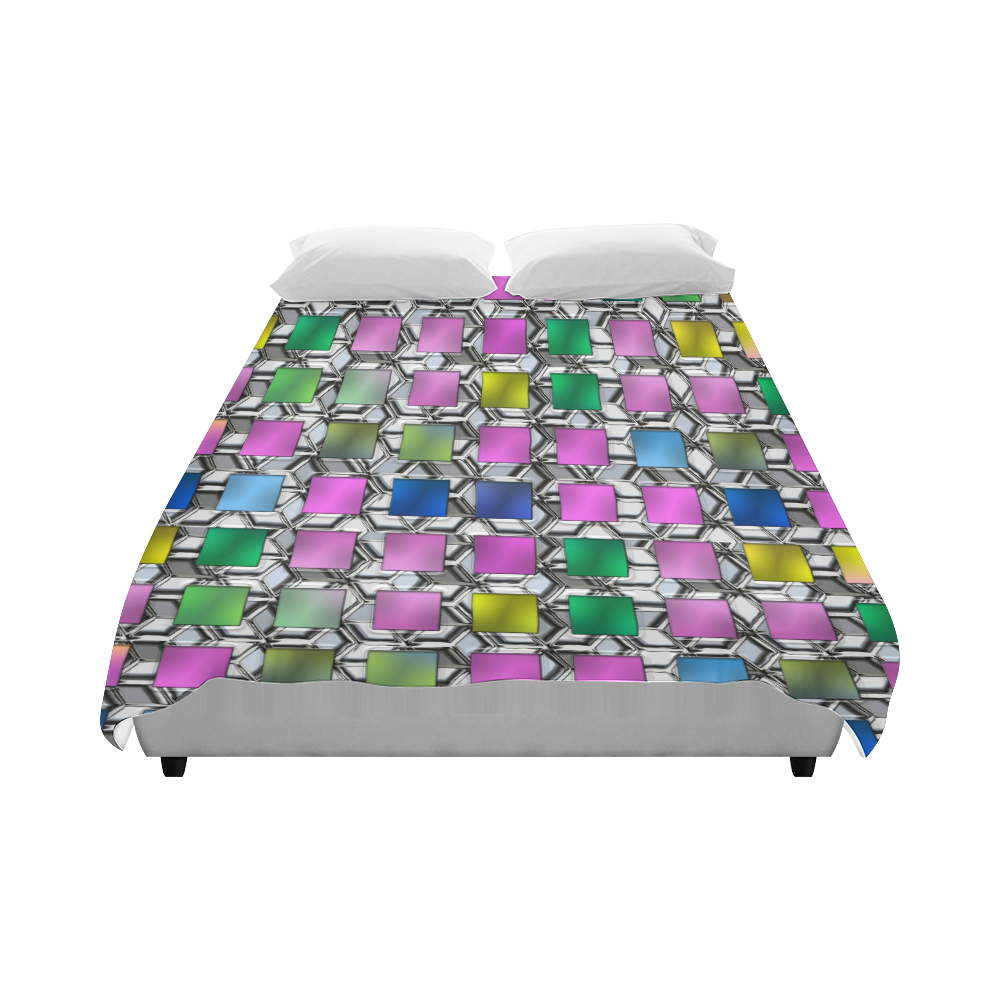 "SQUARE MULTICOLOR II Duvet Cover 86""x70"" ( All-over-print)"