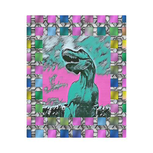"""DINO SQUARE ABSTRACT II Duvet Cover 86""""x70"""" ( All-over-print)"""