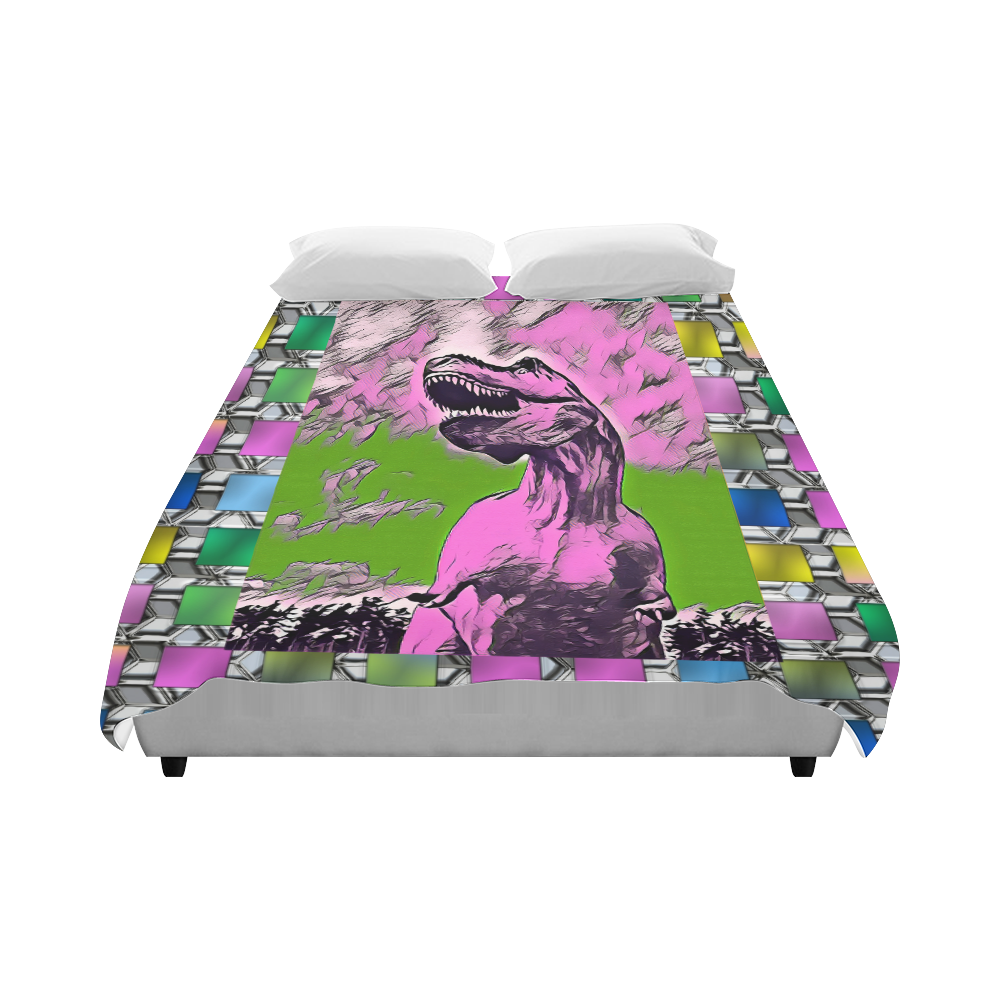 """DINO SQUARE ABSTRACT Duvet Cover 86""""x70"""" ( All-over-print)"""