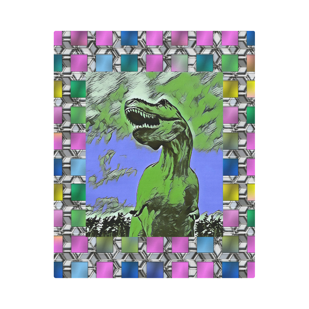 """DINO SQUARE ABSTRACT IV Duvet Cover 86""""x70"""" ( All-over-print)"""