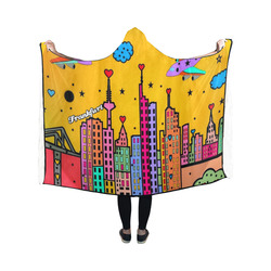 Frankfurt Popart by Nico Bielow Hooded Blanket 50''x40''